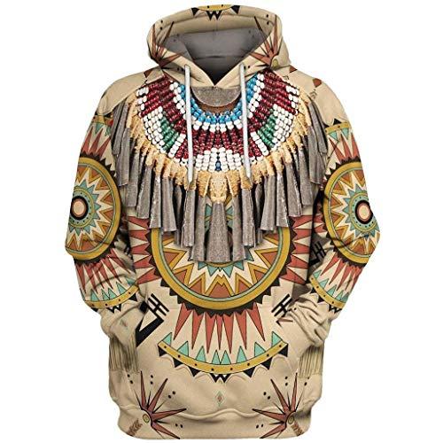 Sudadera con capucha de manga larga para hombre, diseño 3D vintage, étnico, estampado con capucha, manga larga, color blanco, talla S