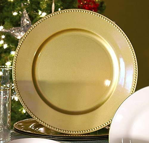 Tableware Casadomu Set Of 6 Gold Beaded Charger Plates Round Plastic Under Place Settings