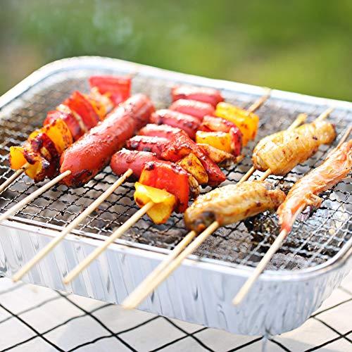 510RZNpE9 L. SL500  - Mothcattl Barbecue-Ofen, Einweg-Grill, tragbar, für Zuhause, Outdoor, Picknick, Grill mit Holzkohle silber
