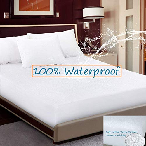 CCWB by Cotton Craft Waterproof Mattress Protector White Terry Cotton Fitted Sheet Style with Elastic Band (72x36)