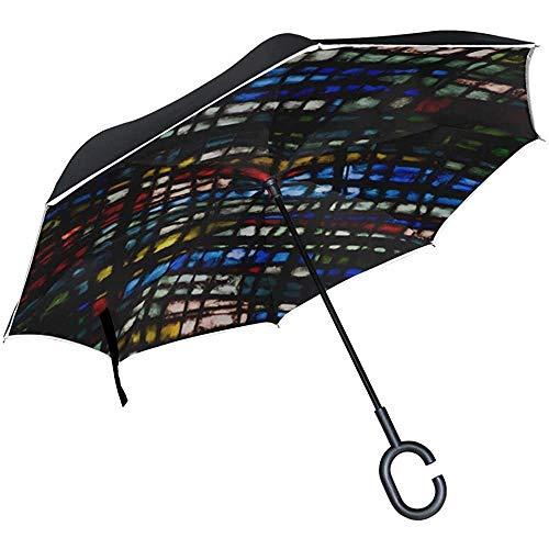 Alice Eva Umgedrehter Regenschirm Umgedrehter Regenschirm Rosette Notre Dame De Paris Umbrella Umkehrbarer Reise-Taschenschirm