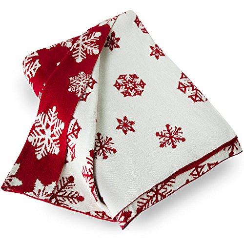 casa pura Couverture Chaude Coton 100% Naturel   réversible   Flocon de Neige Rouge et Blanc – Snowflake, 150x200cm