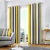 Fusion Cojín de Rayas Whitworth, 100% algodón, Forro: 52% poliéster y 48% algodón, Ocre, Curtains: 66' Width x 90' Drop (168 x 229cm)