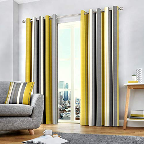 Fusion - Whitworth Stripe - 100% Cotton Pair of Eyelet Curtains - 90' Width x 90' Drop (229 x 229cm) in Ochre