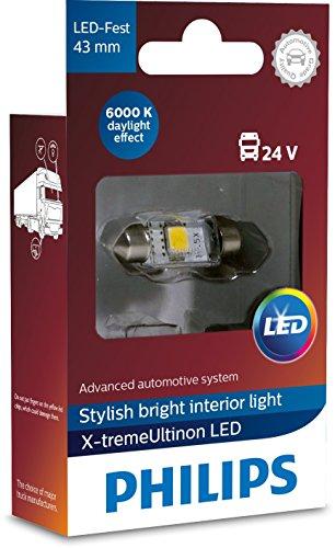 Philips automotive lighting 249466000KX1 X-tremeUltinon LED luz interior para coche C5W 43mm Festoon 6000K 24V, 1 unidad, Xenon White, 43 mm
