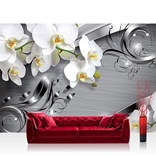 Vlies Fototapete 350x245 cm PREMIUM PLUS Wand Foto Tapete Wand Bild Vliestapete - Orchideen Tapete Ornament Orchidee Blüte Blume grau - no. 603