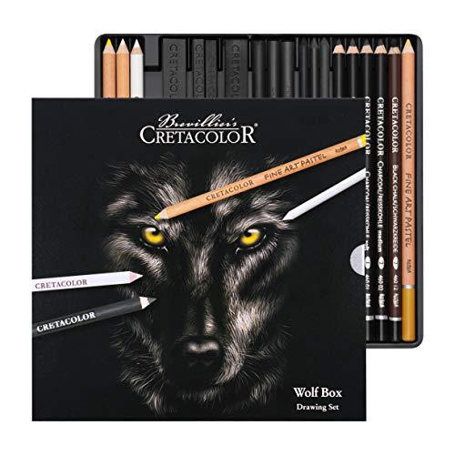 Cretacolor Wolf Box | Schwarz - Weiß Zeichen - Set | 25-teilig