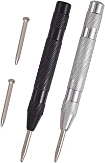 Cozihom 2 Pack Automatic Center Punch, 5 Inches Spring Loaded Center Hole Punch, Adjustable Tension, with 2 Replacement Tips