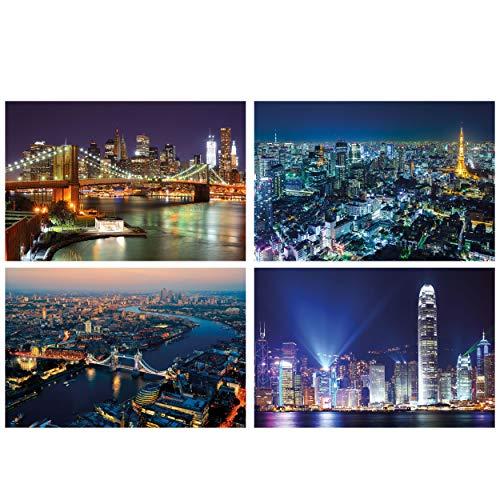GREAT ART® juego de 4 motivos de carteles | Din A2 - 42 x 59,4 | ciudades del mundo por la noche | Nueva York Londres Hong Kong Tokio City | Cuadros para niños decoración póster
