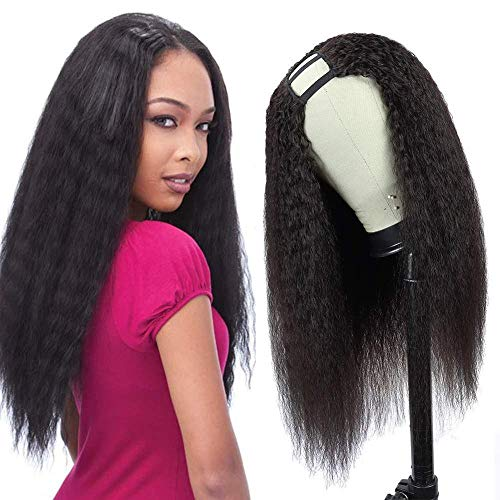 U Part Wig Human Hair Kinky Straight Wigs for Black Women 14inch Yaki 2'x4'U Shape Middle Part Clip in Wigs Remy Human Hair Extension (14inch, Natural Color)