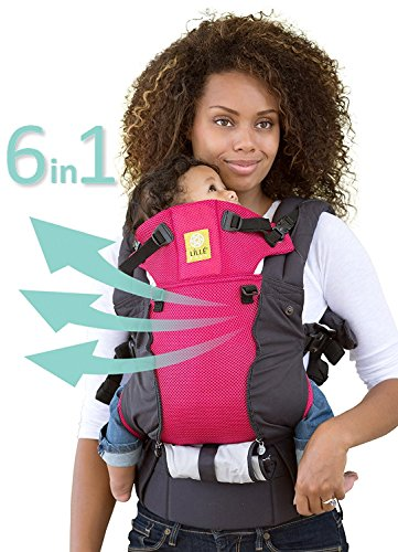 LILLEbaby Complete All Seasons 6-in-1 Baby Carrier - Charcoal/Berry