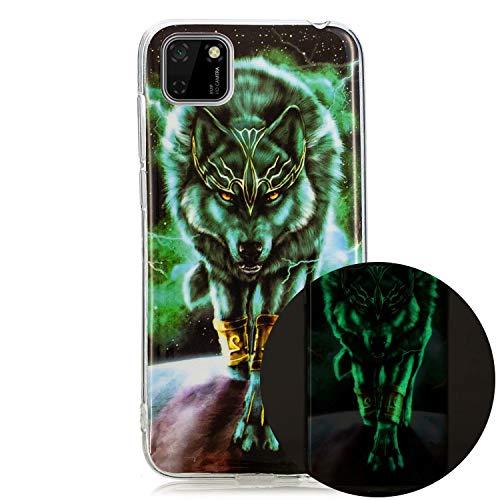 Miagon Leuchtend Luminous Hülle für Huawei Y5P,Fluoreszierend Licht im Dunkeln Handyhülle Silikon Case Handytasche Stoßfest Schutzhülle,Wütend Wolf