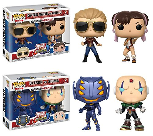 Funko POP! Marvel vs Capcom: Capitana Marvel vs Chun-Li + Ultron vs Sigma