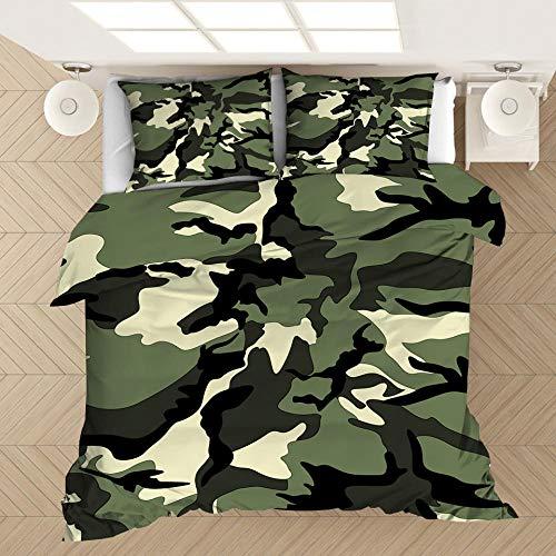 Funda de almohada con funda nórdica con estampado de camuflaje en 3D, cama individual doble tamaño king, dormitorio decorativo, apartamento, ropa de cama suave y cómoda-1_230 * 260 cm (3 piezas)