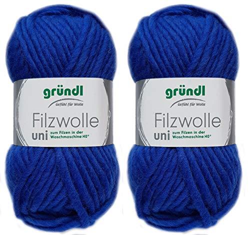 2x50 Gramm Gründl Filzwolle inkl. Anleitung für Topflappen (Uni Farben, 12 Royalblau)