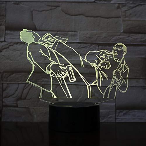 Kung Fu Fighting Acrílico Cambio de Color de la luz Interruptor táctil Remoto Luces Decorativas de Noche Iluminación del sueño del bebé