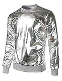 JOGAL Metallic Gold Shirts Nightclub Styles Hoodies Medium Silver