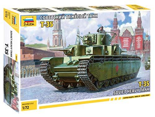 ZVEZDA 500785061 - 1:72 T-35 Soviet Heavy Tank WWII, Modellbau, Bausatz, Standmodellbau, Hobby, Basteln, Plastikbausatz
