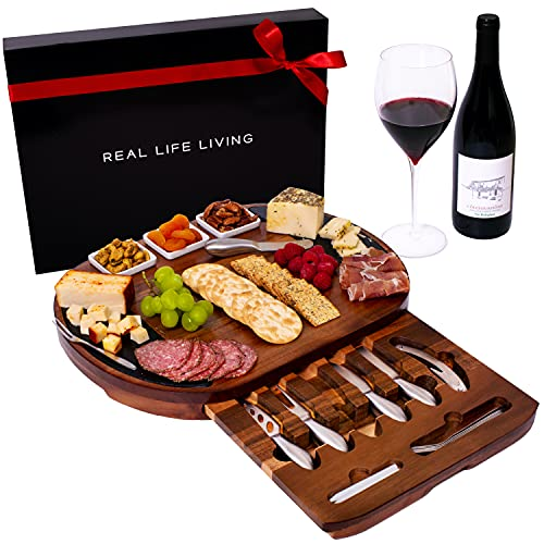 Large Round Charcuterie Board Set - Giftable 20-Piece Cheese Board and Knife Set - House Warming Present or Wedding & Engagement Platter - Acacia Wood & Slate Serving Tray for Meat, Wine & Cheese