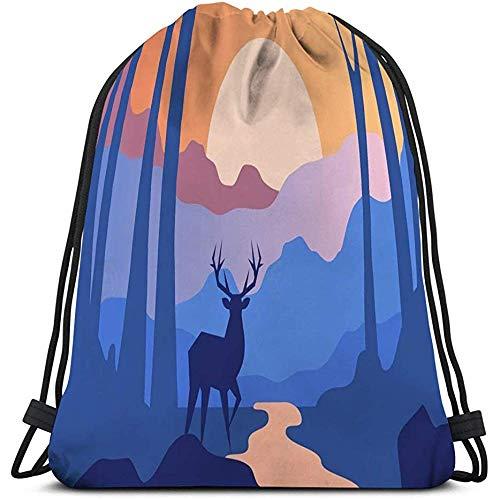 Trekkoord Tas Voor Mannen En Vrouwen mooie scène natuur vreedzame landschap bos herten avond tijd sjabloon banner poster tijdschrift cover