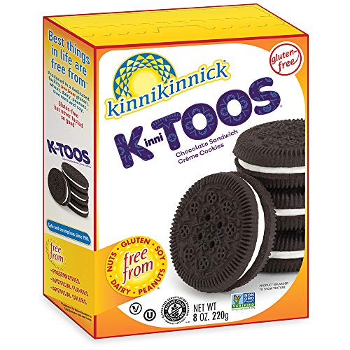 Kinnikinnick KinniTOOS Gluten Free Chocolate Sandwich Cream Cookies, 8oz/220g (Pack of 6)