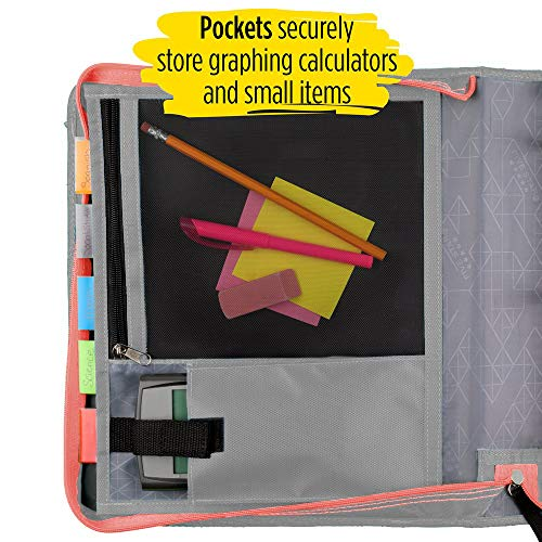 Five Star 2 Inch Zipper Binder, 3 Ring Binder, Expansion Panel, Durable, Gray/Bright Coral (29052IY8) Photo #2