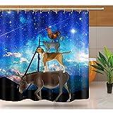 DOOPVM Anti-Schimmel Duschvorhang Tierdämmerungs-Esel-Hühnerkatze 3D Vorhang Anti-Schimmel Textil Waschbar Anti-Bakteriel mit 12 Ringe für Badezimmer-180 x 200cm