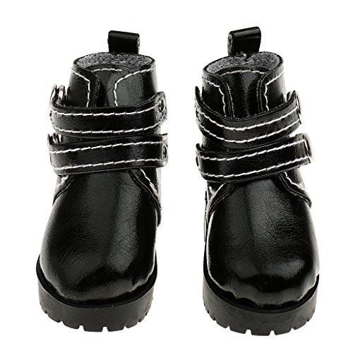Fenteer Puppenschuhe Puppen Stiefel aus PU Kunstleder für 1/3 1/4 Mädchen Puppe Zubehör - Schwarz