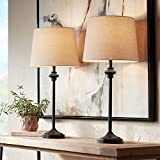 Lynn Modern Contemporary Tall Buffet Table Lamps Set of 2 Dark Bronze Brown Metal Oatmeal Fabric Drum Shade Decor for Dining Living Room Bedroom House Bedside Home Office Family - 360 Lighting