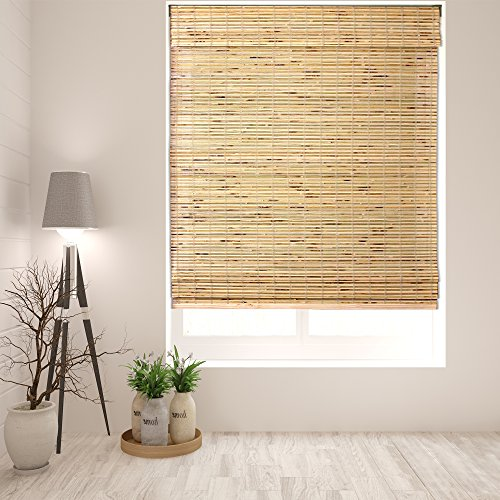 Arlo Blinds Cordless Petite Rustique Bamboo Roman Shades Blinds - Size: 32' W x 60' H, Cordless Lift System ensures Safety and Ease of use.