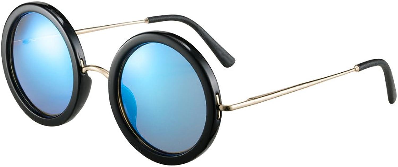 HONGYANDAI Sunglasses Ladies Round Polarized Glasses 100% Uv Predection Driving Glasses (Black Box bluee)