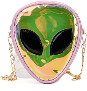Holographic Alien Pattern Crossbody Bag Glitter Shoulder Purse with Chain Strap for Kids Teen Girls Women, Pink (Pink) - CCbb-191204110A-02