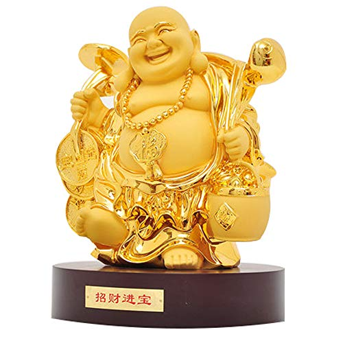 LINGS Chinese Feng Shui Decor Gold Plating Laughing Buddha Statues for Home and Office,Attract Wealth and Good Luck Congratulatory Gifts(Large)