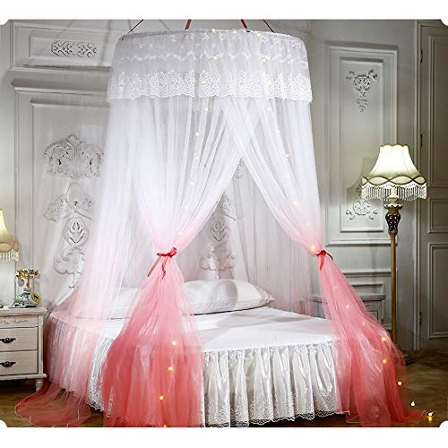 TYSYA muggennet met lichtjes beddak Gradient bedgordijn, de romantische koepelprinses, eenvoudige installatie, insectenbestrijding, universele maat, voor de binneninrichting en de meisjeskamer