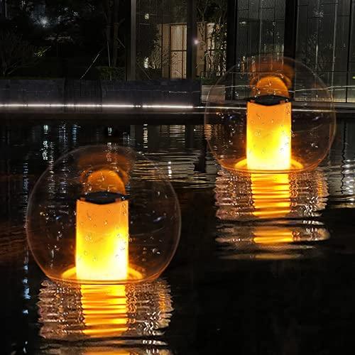 부동 수영장 조명 태양 화염 조명 깜박임 IP68 방수 볼 밤 조명 수영장 이벤트 파티 정원 안뜰 마당 통로 진입로 (2PCS)에 대 한 야외 랜턴 풍경 장식 램프