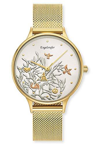 Engelsrufer Damen Analog Quarz Uhr mit Edelstahl Armband ERWA-TREE01-MG-MG