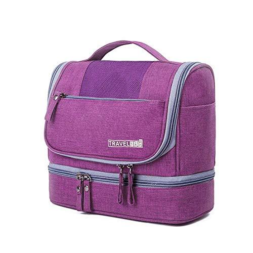 Bolso de Aseo de Viaje Colgante con Gancho y Mango de la Bolsa de cosméticos Impermeables Kit DOP Hombres Mujeres Maquillaje Caja Organizador-Púrpura