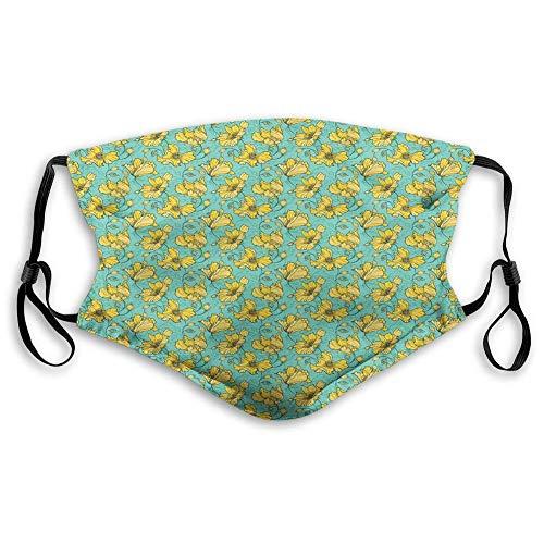 AOTISO Comfortabel bedrukt masker, bloem, lentepatroon van repetitieve wilde bloemenblaadjes met ontluikende toppen, zeeschuim en mosterd