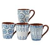 Certified International Porto Set/4 Mug 22 oz., Assorted Designs,One Size, Multicolored