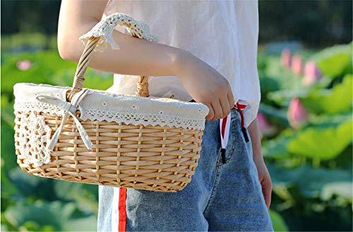 Nuokix Picknick-Korb Rattan Picking Baby-Kleidung Geschenke Collecthand Obst 40 x 34 x 15 cm Picknicktaschen Küche Storage