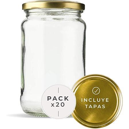 Lot de 20 bocaux en verre pour conserves avec couvercle en verre avec couvercles inclus, récipients en verre pour aliments de 720 ml étanches. (20 unités)