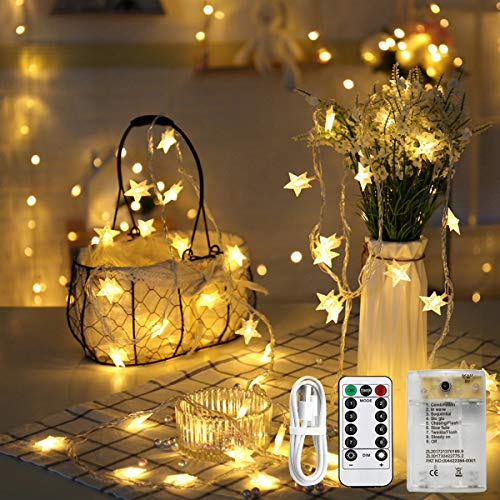 XDlight Star String Lights, 80 LED Star Christmas Lights, 34FT Twinkle Fairy Lights, USB Battery Operated, Waterproof Star Decoration for Indoor Outdoor, Bedroom, 8 Modes Remote Control, Warm White …