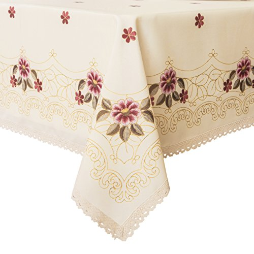 Wewoch Decorative Red Floral Print Lace Water Resistant Tablecloth Wrinkle Free and Stain Resistant Fabric Tablecloths for Dining Room 60 Inch by 104 Inch