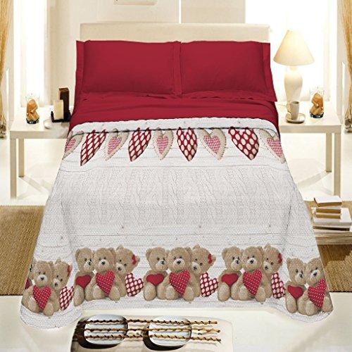 Smartsupershop Tagesdecke Frühling Sommer Französisches 220x 280Bären Herzen rot aus Baumwolle Piqué Jacquard Made in Italy