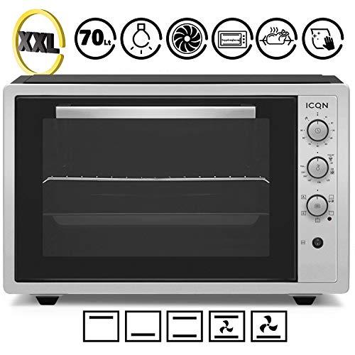 ICQN 70 Liter Inox Grau Mini-Öfen   1800 W   Mini-Backofen mit Innenbeleuchtung und Umluft   Pizza-Ofen   Doppelverglasung   Timer Funktion   Emailliert