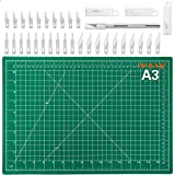 Audab 18' x 12' Self-Healing Cutting Mat and Craft Knife kit with 30Pcs Hobby Blades Art Knife for Craft, Sewing, Fabric, Quilting, Scrapbooking Project