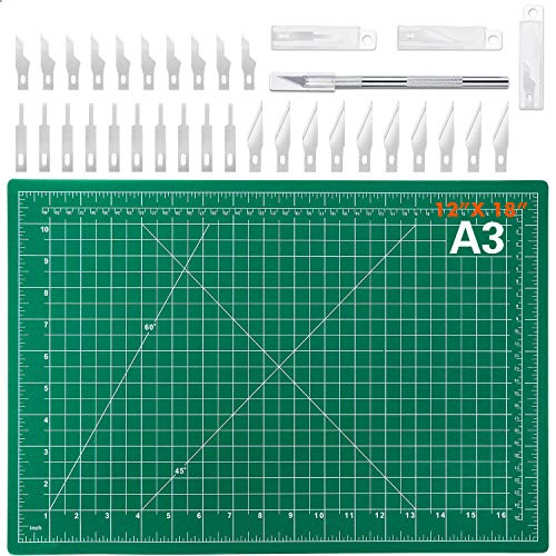 Audab 18' x 12' Self-Healing Cutting Mat and Craft Knife kit with 30Pcs Hobby Blades Art Knife for...