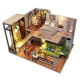sookin Rompecabezas 3D en Miniatura de Bricolaje de Madera Casa de MuñEcas de Estilo NóRdico Juego para Decoraciones con Luces y Muebles Regalos de CumpleañOs Navidad para Adultos NiñOs