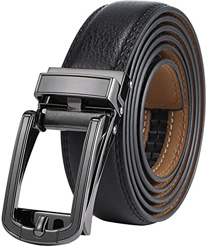 """Marino Mens Genuine Leather Ratchet Dress Belt with Open Linxx Buckle - Lockdown - Deep Charcoal - Adjustable from 28"""" to 44"""" Waist"""