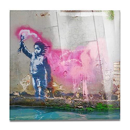 Giallobus - Schilderij - Klaar om op te hangen - Afdrukken op Acrylglas Plexiglas - Banksy - Schipbreukeling - moderne schilderijen home design meubels - slaapkamer - diverse maten XXL - 70x70 cm